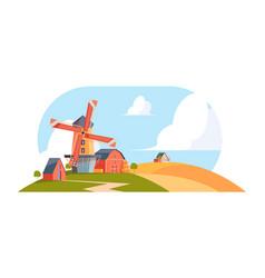 village windmills cartoon rural background vector image