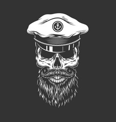 vintage skull in sea captain cap vector image