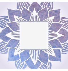 Watercolor violet frame with floral pattern vector
