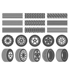 wheel tires car tire tread tracks motorcycle vector image