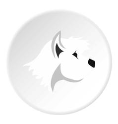 White dog icon flat style vector image