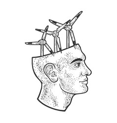 wind turbine in head line art sketch vector image