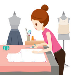 Woman making clothes pattern vector