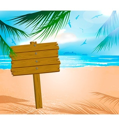 Wooden Sign on a Beach vector