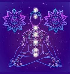 Yoga man ornament beautiful esoteric concept of vector