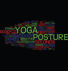yoga posture text background word cloud concept vector image