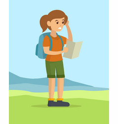 Young woman reading the map finding direction vector