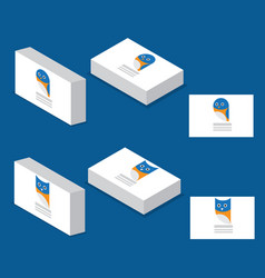 bird and owl logo on business card vector image