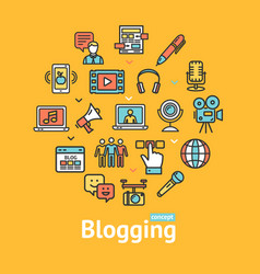 blogging color round design template line icon vector image vector image