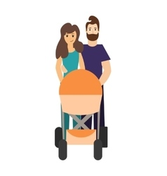 Cartoon Cute Parents with a Stroller vector image