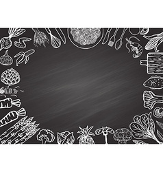 ingredients on chalkboard vector image