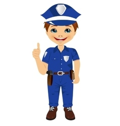 little boy in police uniform giving thumbs up vector image vector image