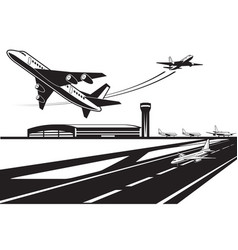 planes waiting for their turn to take off vector image