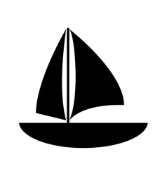 Silhouette sailboat navigation water recreation vector