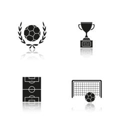 Soccer drop shadow black icons set vector image