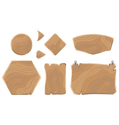 blank wooden boards of various shapes collection vector image