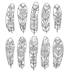 Ethnic feathers set isolated on white background vector image