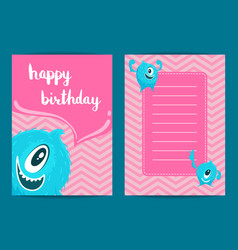 happy birthday card template with cartoon vector image vector image