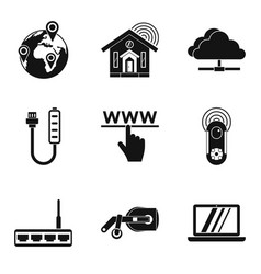 home network icons set simple style vector image vector image