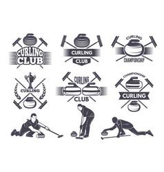 labels for curling sport team vector image vector image