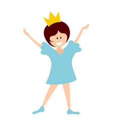 little princess in a blue dress in a crown on a vector image