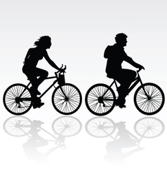 man and woman riding a bicycle vector image