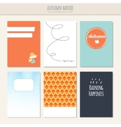 Set of autumn fall greeting journaling cards vector image