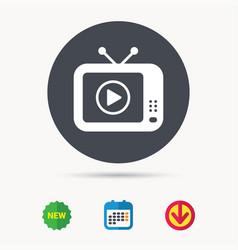 Tv icon retro television sign vector