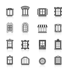 Vintage windows set Flat exterior icons vector image