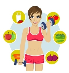 woman with dumbbells and variety of healthy fruits vector image vector image