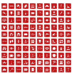 100 profession icons set grunge red vector
