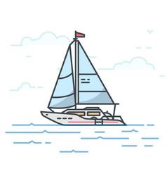 big modern sail yacht vector image vector image