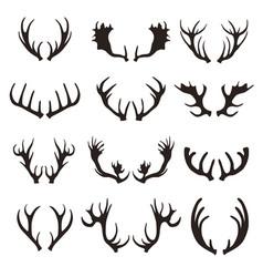cartoon black silhouette deer horns set vector image vector image