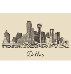Dallas skyline hand drawn vector image
