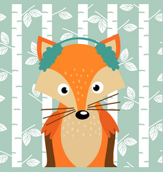 fox on background of birch trees vector image vector image