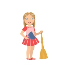 Girl Holding The Broom And Duster vector image vector image