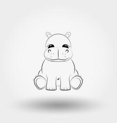 hippo baby icon art line vector image