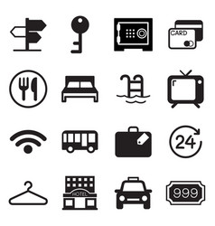 hotel hostel icons set vector image