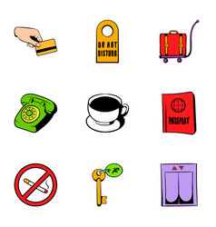 receptionist icons set cartoon style vector image vector image