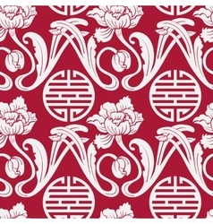 Seamless pattern of Chinese symbols and flowers vector image vector image