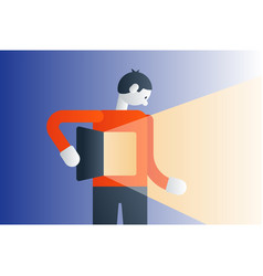 standing man gut feeling creative thinking concept vector image