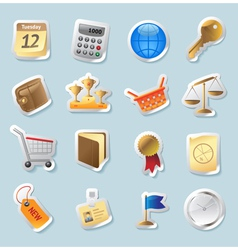 Sticker icons for business and finance vector image vector image