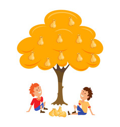 two boys near the tree pear cartoon vector image