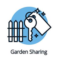garden sharing key icon black outline concept vector image