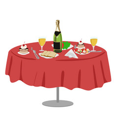 restaurant or cafe table with bottle of wine vector image