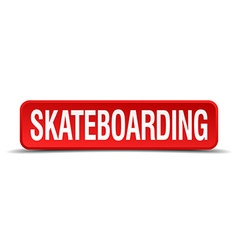 skateboarding red 3d square button isolated on vector image