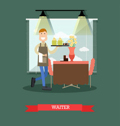 waiter in flat style vector image