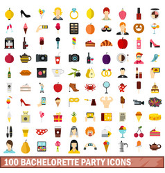 100 bachelorette party icons set flat style vector