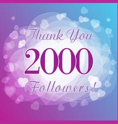 2000 followers hearts vector image