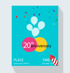 20th years anniversary invitation design vector image